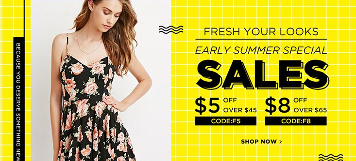 Fresh Your Look Early Summer Special Sale! $5 OFF on Orders $ 45 & $8 OFF on Orders $ 65, Shop Now!