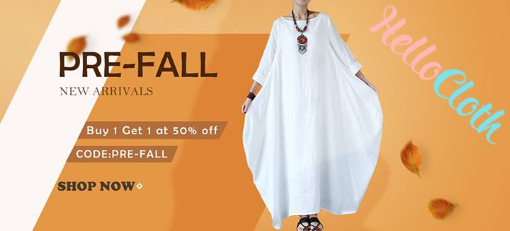 Pre-Fall Sale! New Arrivals, Buy 1 Get 1 on 50% OFF at HelloCloth.com Shop Now!
