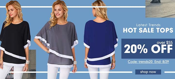Latest Trends 2018 Hot Sale Tops! Get 20% Off On Orders Over $55, Shop Now at Liligal