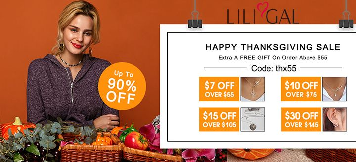 Happy Thanksgiving Sale! Up To 90% OFF + Extra a Free Gift on Orders $55+ at Liligal.com