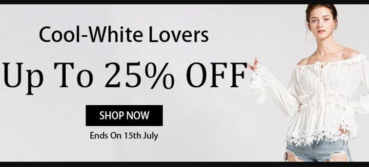 Cool-White Lovers! Save Up To 25% OFF on Women's Dresses, Tops, Shorts and Bottoms at Stylewe!